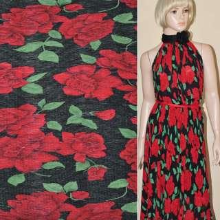 Шифон жатый черный с красными цветами ш.146 оптом
