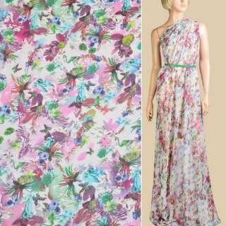 Шифон білий, блакитні, фіолетові квіти, листя, ш.145 оптом