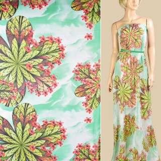 Шифон біло-зелений, зелене листя, червоні дрібні квіти, ш.147 оптом