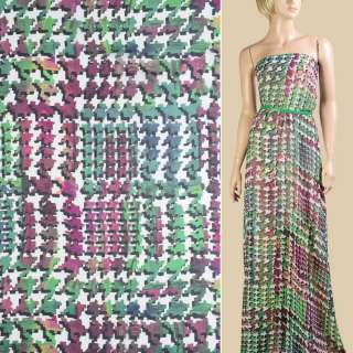 Шифон білий в зелено-фіолетовий абстрактний візерунок, ш.145 оптом