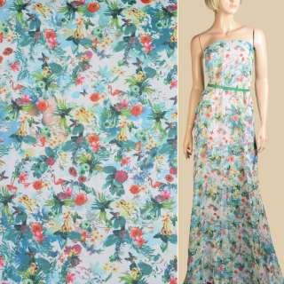 Шифон біло-блакитний, червоні квіти, фламінго, ш.145 оптом