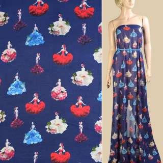 Креп-шифон синий темный, девушки в цветочных платьях, ш.148 оптом