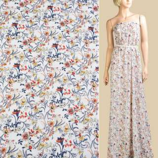 Шифон білий, сині, оранжево-жовті квіти, ш.150 оптом