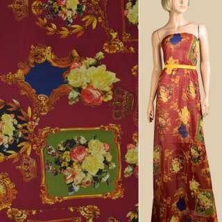 Шифон бордовий, картини, троянди, корони, ш.148 оптом