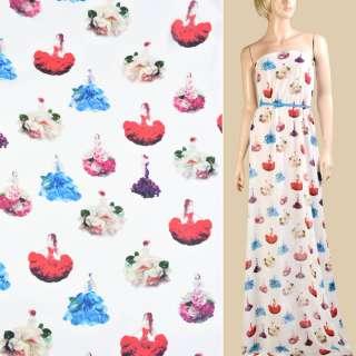 Креп-шифон белый, девушки в цветочных платьях, ш.150 оптом
