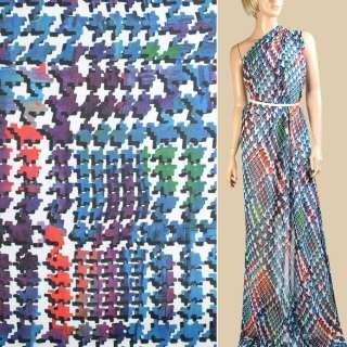 Шифон білий в синьо-фіолетовий абстрактний візерунок, ш.145 оптом