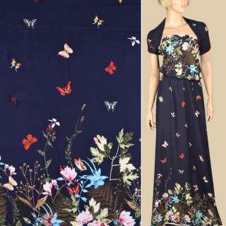 Штапель синій, біло-рожеві квіти, метелики, 2ст.купон, ш.140 оптом
