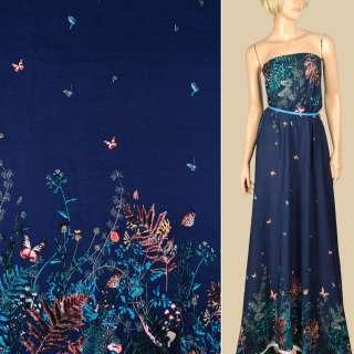 Штапель синій, квіти, метелики, 2ст.купон, ш.140 оптом
