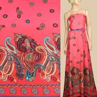 Штапель кораловий, орнамент червоно-бежеві огірки, 1ст.купон, ш.140 оптом