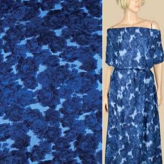 Штапель голубой, синие розы, ш.143 оптом