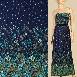 Штапель синий, бирюзовые цветы, цветочная кайма, ш.140 оптом
