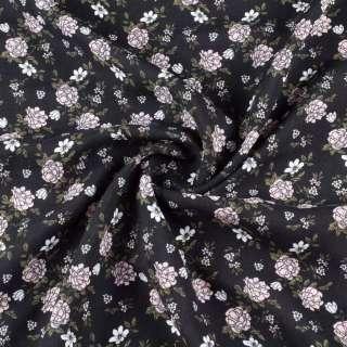 Штапель чорний, рожеві, білі квіти, ш.140 оптом