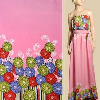 Штапель розовый, сиреневые, салатовые, красные цветы, 2ст.купон, ш.143 оптом