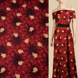 Штапель красно-черный, бежевые цветы, ш.140 оптом