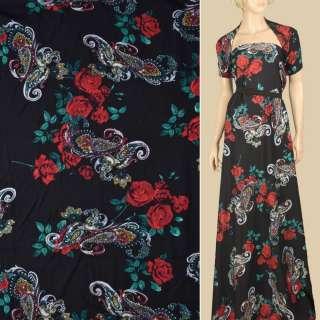Штапель чорний, червоні троянди, біло-бежеві огірки, ш.140 оптом