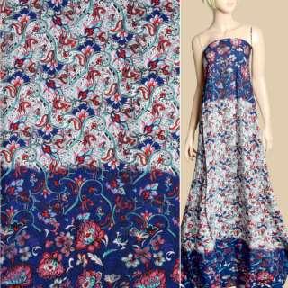 Штапель синій, біло-бірюзовий орнамент, рожеві квіти, 2ст.купон, ш.143 оптом