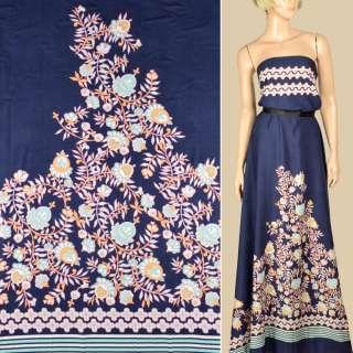 Штапель синій, облямівка в смужку і біло-жовті квіти, 1ст.купон, ш.145 оптом
