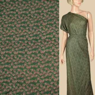 Штапель зеленый, бежевые листочки, ш.145 оптом