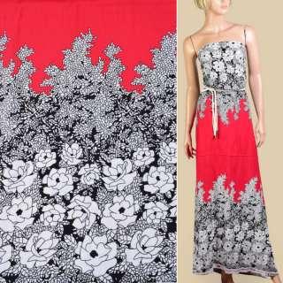 Штапель червоний, чорно-білий квітковий візерунок, 2ст.купон, ш.140 оптом