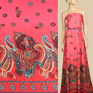 Штапель коралловый, орнамент красно-бежевые огурцы, 1ст.купон, ш.140 оптом