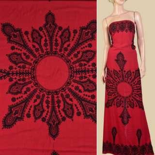 Штапель червоний, чорний орнамент, 2ст.купон, ш.140 оптом