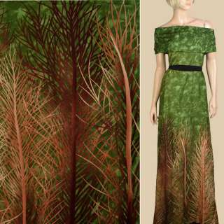 Штапель зеленый, бежевые, коричневые ветки, 1ст.купон, ш.143 оптом