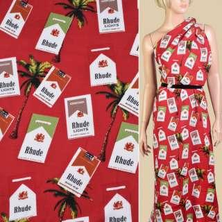 Штапель красный, пачки сигарет, пальмы, ш.140 оптом