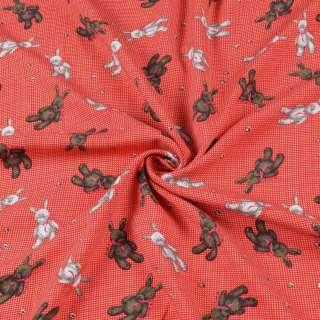 Штапель стрейч червоний, плюшеві зайчики, ш.155 оптом
