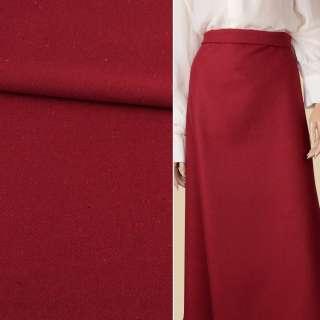 Тканина костюмна діагональ червона темна з кольоровими вкрапленнями ш.150 оптом