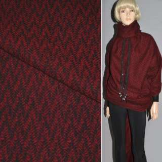 Тканина пальтова червоно-чорна напіввовняна ш.150 см оптом