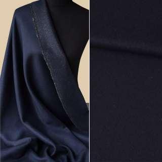 Вовна пальтова з метаниткою золотистою синя темна, ш.150 оптом