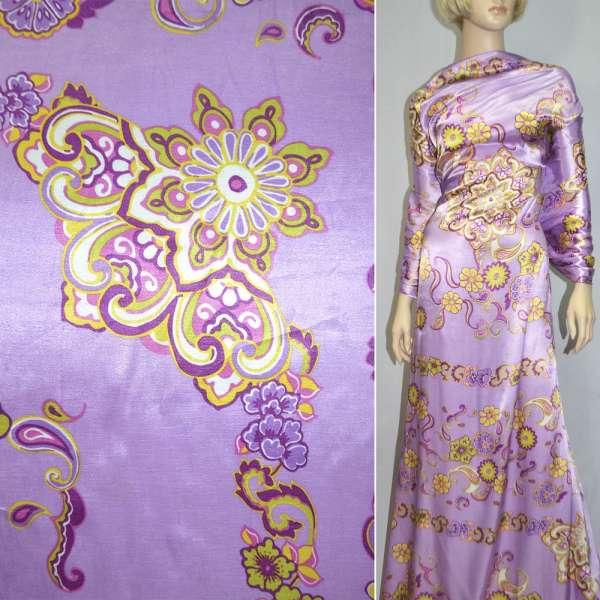 Атлас сиреневый с цветочным орнаментом оптом