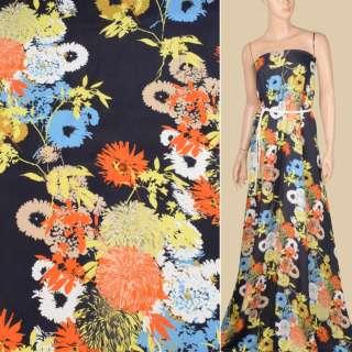 Віскоза атласна синя темна, жовті, помаранчеві, блакитні квіти, ш.150 оптом