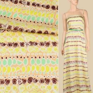 Вискоза атласная бежевая светлая, лимонно-коричневый абстрактный узор, ш.140 оптом