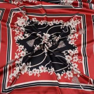 Атлас червоний, чорно-білий принт, хустку 63см, ш.147 оптом