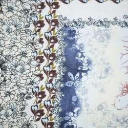 Батист бело-синий в коричнево-голубые цветы ш.136 оптом