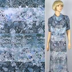 """Муслин """"Apanage"""" в полосы-узоры серо-голубого-фотопринта ш.150"""