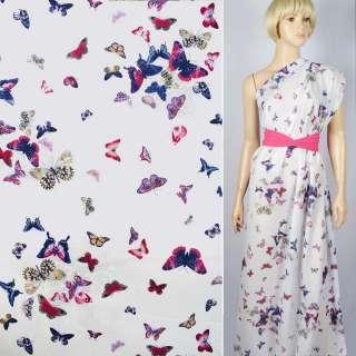 """Батист """"Apanage"""" белый в синие и розовые бабочки ш.145 оптом"""