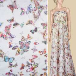 Батист молочно-серый с разноцветными бабочками ш.140 оптом