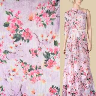 Батист деворе жатый сиреневый в розовые и белые цветы, ш.140 оптом