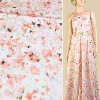 """Батист """"Apanage"""" білий в персиково-зелені квіти ш.145 оптом"""