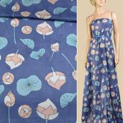 Батист синий в персиковые, бирюзовые кувшинки ш.147 оптом