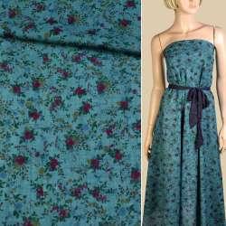 Батист бирюзовый темный, бордовые, синие цветы, ш.140 оптом
