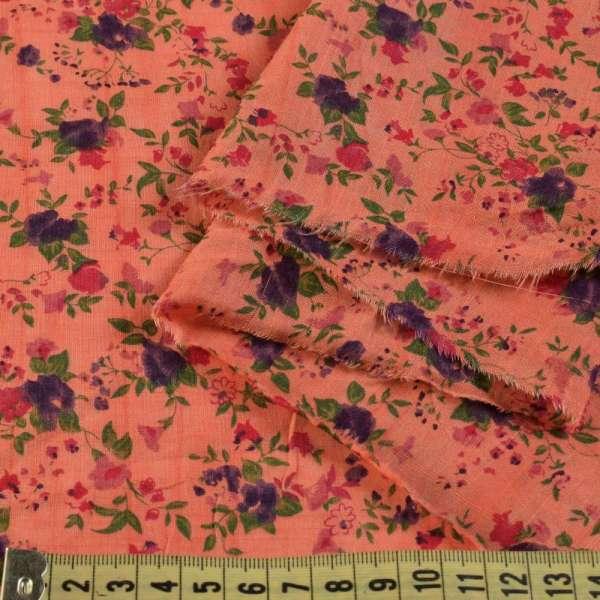 Батист терракотовый в мелкий фиолетово-зелено-красный цветок ш.140 оптом