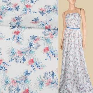 Батист белый в розово-голубые мелкие цветы, ш.142 оптом