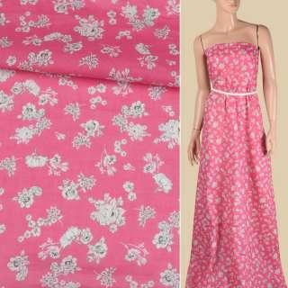 Батист рожевий, дрібні білі троянди, ш.140 оптом
