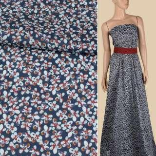 Батист синий в мелкие коричнево-голубые цветы, ш.143 оптом