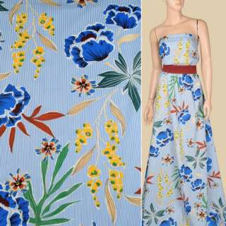 Батист в біло-блакитну смужку, великі сині квіти, зелене листя, ш.140 оптом
