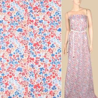 Батист белый, мелкий красно-синий цветочный узор, ш.140 оптом