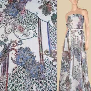Батист білий в синьо-зелений квітковий орнамент, ш.145 оптом